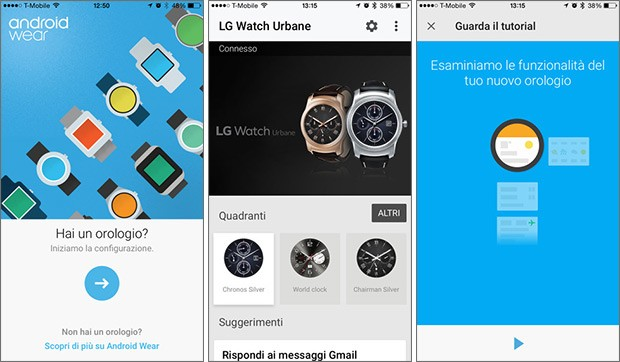 Screenshot per l'applicazione Android Wear su iPhone