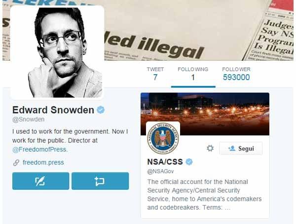 Snowden per il momento segue soltanto un altro account su Twitter: quello del suo ex datore di lavoro, l'agenzia di sicurezza nazionale americana. Avranno apprezzato l'ironia? Non è dato di sapere.
