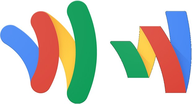 Il vecchio logo di Google Wallet (sinistra) a fianco di quello nuovo (destra)