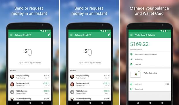Screenshot per la nuova applicazione di Google Wallet su smartphone Android