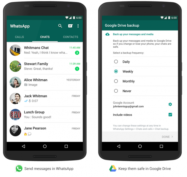 WhatsApp - backup su Google Drive