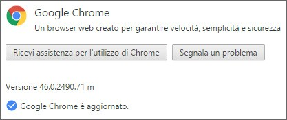 La versione più recente di Chrome