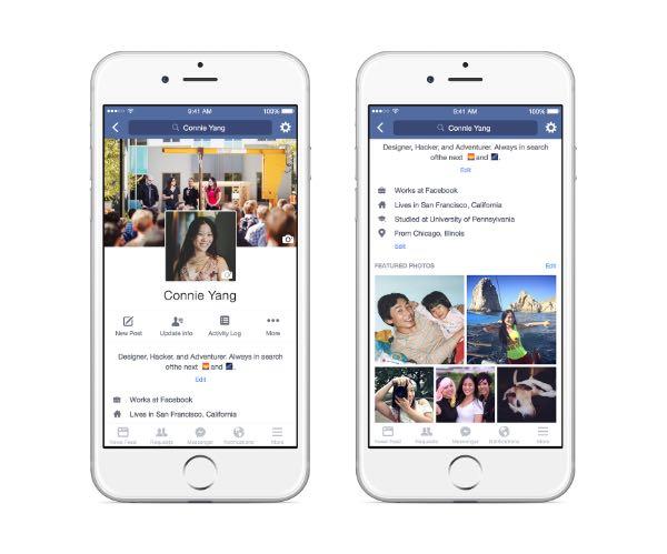 Facebook, nuovi profili mobile