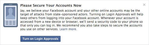 Facebook avvisa gli account sotto attacco