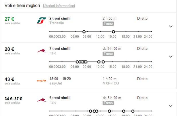 Google Ricerca Voli mette a confronto gli aerei con i treni