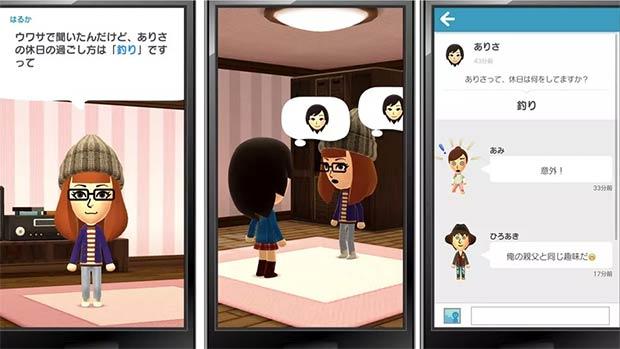 Screenshot per Miitomo, la prima applicazione di Nintendo ad arrivare sui dispositivi mobile