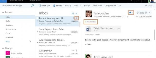 Office 365 come Facebook: arrivano menzioni e Like