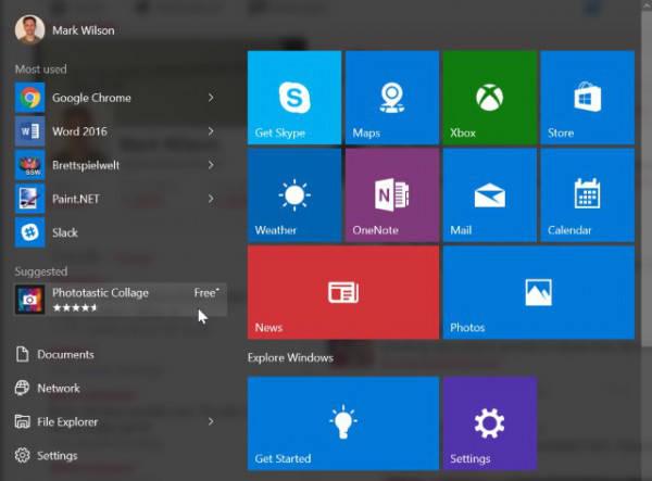 Windows 10 suggerisce le app da installare