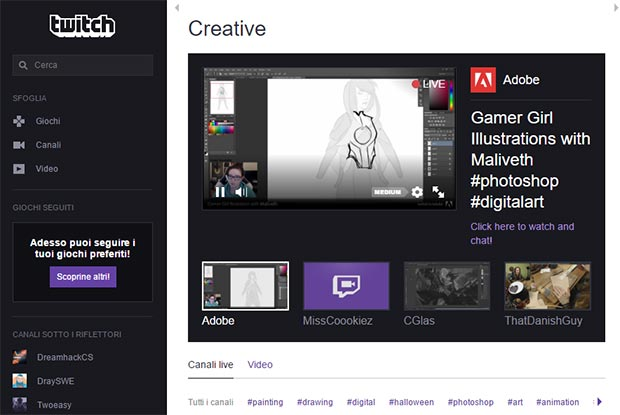 La homepage di Twitch Creative