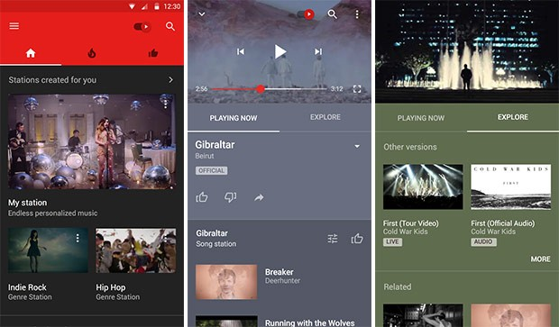 Screenshot per l'interfaccia di YouTube Music su smartphone Android