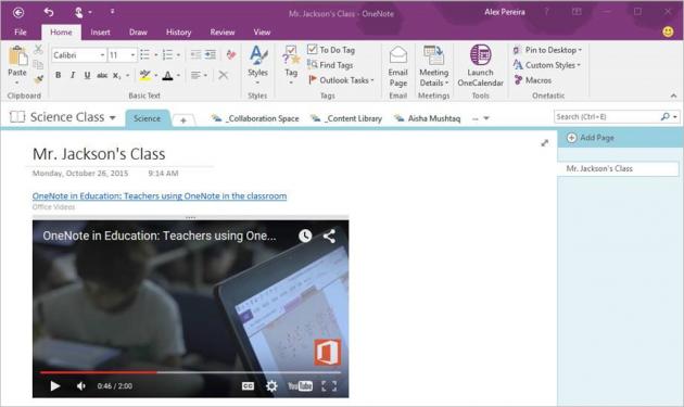 Video embedded in OneNote 2016