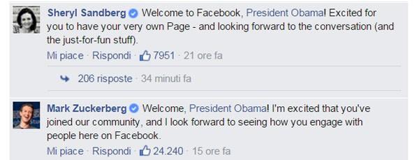 I commenti di Sheryl Sandberg e Mark Zuckerberg sono arrivati subito dopo che il presidente Obama ha postato un video dalla Casa Bianca.