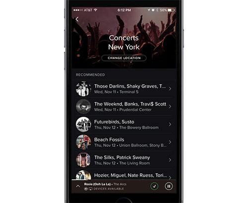 La nuova funzionalità Concerti introdotta da Spotify nelle applicazioni mobile per Android e iOS