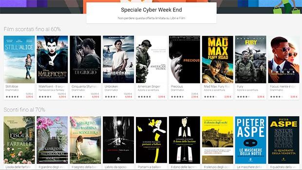 Alcuni dei contenuti su Google Play scontati per il Cyber Weekend