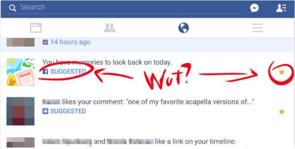 Facebook suggerisce le notifiche importati