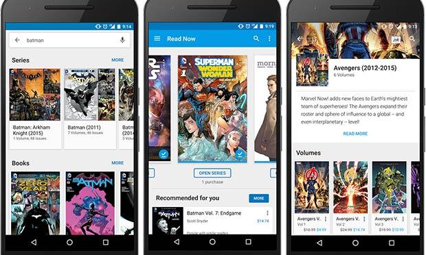 I fumetti nell'applicazione Google Play Libri per Android