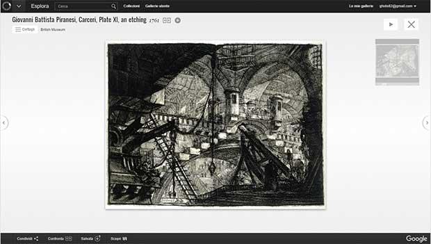 Un'opera di Giovanni Battista Piranesi conservata al British Museum, presente sulla piattaforma Google Cultural Institute