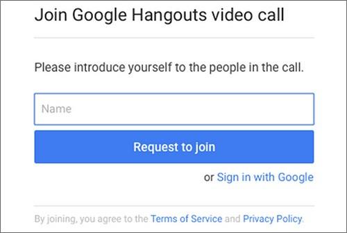 Il modulo per unirsi ad una videochiamata Hangouts senza effettuare il login con l'account Google