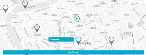Il sistema a questo punto individua tutte le stazioni vicine al punto scelto. Selezionando questi punti si crea una percorso virtuale tra inizio, stazioni intermedia e destinazione.