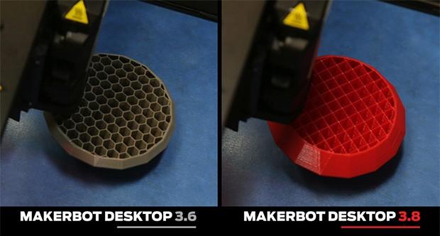 La struttura interna creata dall'algoritmo di MakerBot Desktop 3.6 e quella del nuovo MakerBot Desktop 3.8