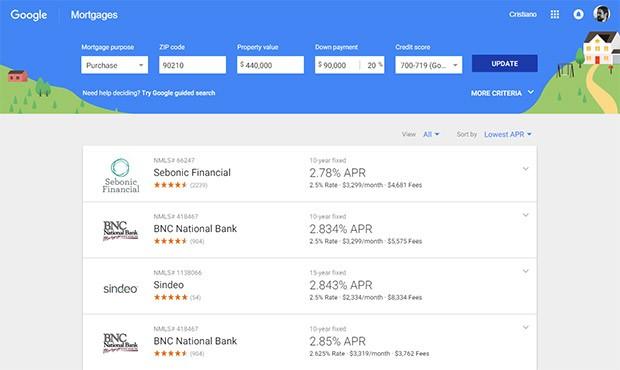 Lo strumento online di Google per la comparazione dei mutui