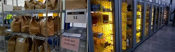 Le bag di carta sono già preparate in modo che i picker mettano i prodotti, poi vengono depositate temporaneamente prima della consegna, separata per zona geografica. A sinistra, i firgoriferi presenti nel magazzino: sono la grande novità rispetto al magazzino centrale di Amazon; qui sono conservati prodotti freschi, tipici da supermercato. Si possono ordinare esattamente come tutto il resto e vederseli consegnati a casa, anche in una sola ora.