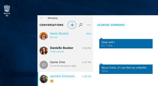 Windows 10, Skype: mandare messaggi