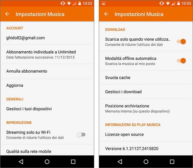 Screenshot per le impostazioni dell'app Google Play Musica dopo l'aggiornamento alla versione 6.1