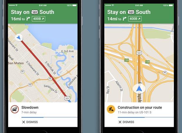 Gli avvisi vocali sul traffico nella versione iOS dell'applicazione Google Maps
