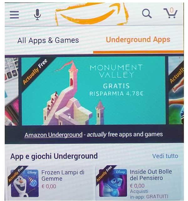 Uno screenshot di come appare Amazon Underground su un comune smartphone Android. Lo shop standard e quello Underground sono visualizzati entrambi, e si passa da uno all'altro. Quando è attiva Underground, l'applicazione si riconosce per il logo del sorriso di Amazon in alto,  mentre l'elenco di app e giochi sono tutte evidenziate come gratuite, comprese quelle generalmente con pagamenti in-app, come ad esempio i più noti giochi della Disney.