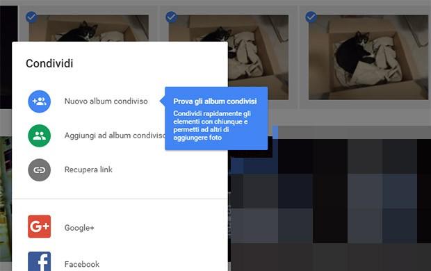 L'opzione per gli Album Condivisi nella versione Web di Google Foto