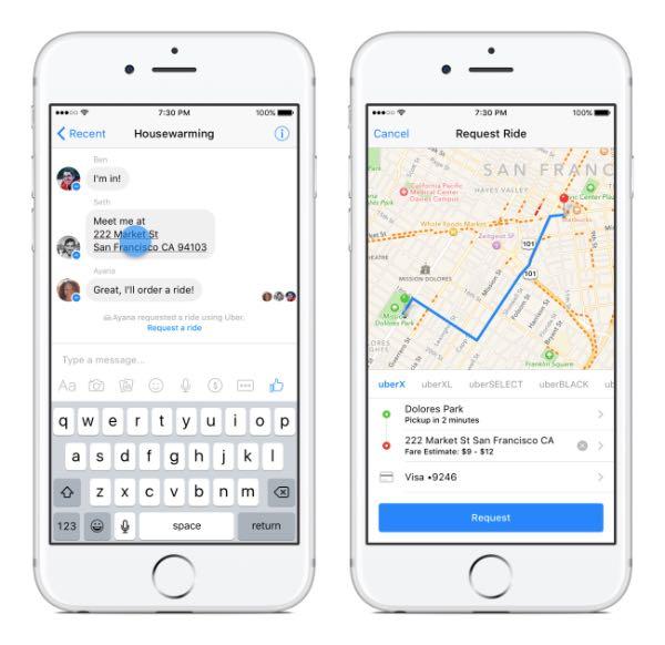 Facebook Messenger prenota una corsa con Uber