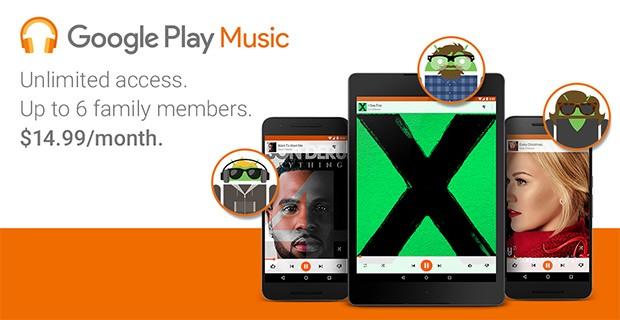L'abbonamento a Google Play Musica per tutta la famiglia, per 14,99 dollari al mese