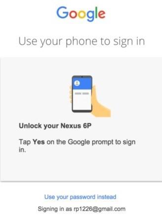 Il nuovo metodo per il login di Google attraverso lo smartphone, senza la password
