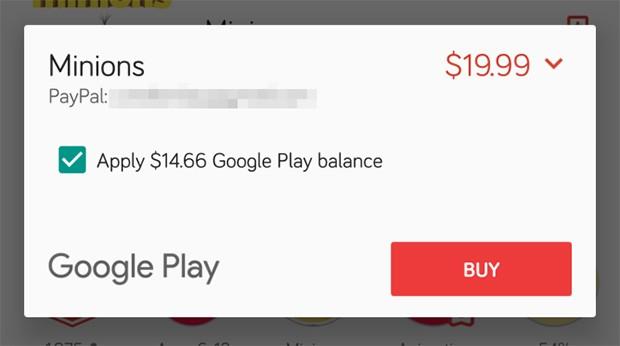 La funzionalità di Google Play che permette di pagare una parte degli acquisti con il credito residuo