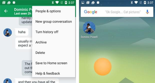 Le conversazioni di Hangouts possono essere aperte in modo rapido attraverso un'icona sulla homescreen