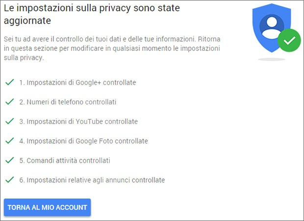 Google: controllo privacy