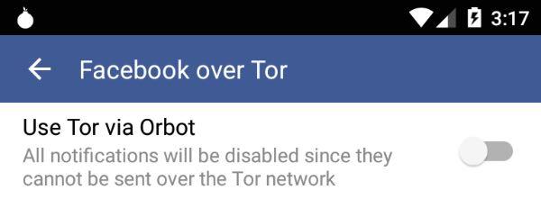 Facebook su Android migliora la privacy con Tor