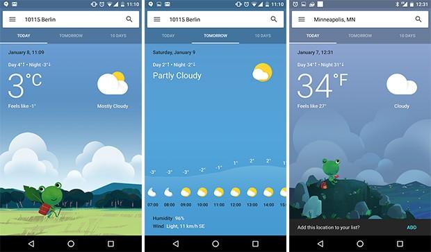 Una nuova grafica per la scheda delle previsioni meteo su Google Now