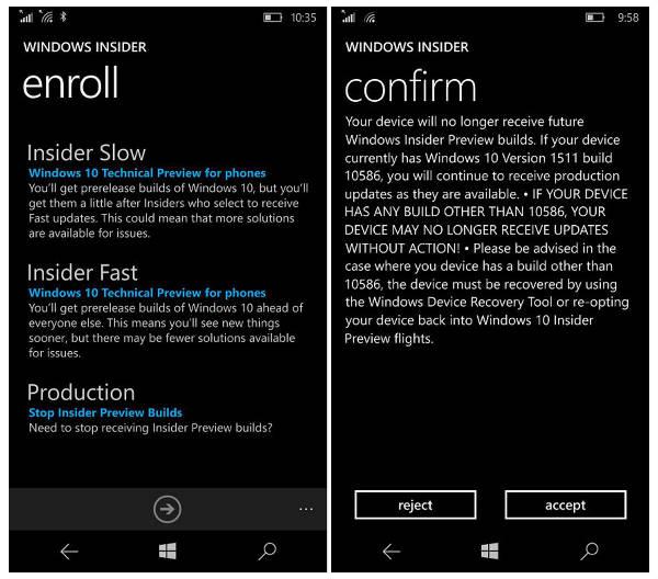 Windows 10 Mobile, i firmware nelle build Insider