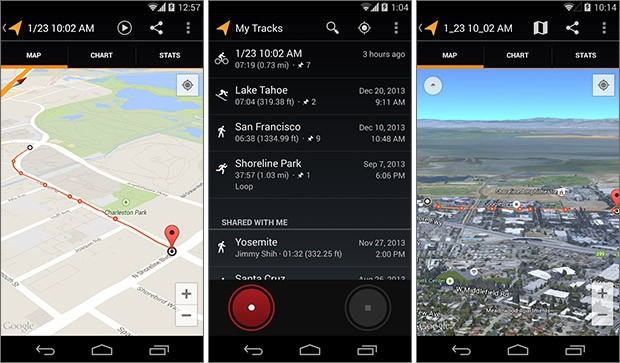 Screenshot per l'applicazione Google My Tracks su smartphone Android