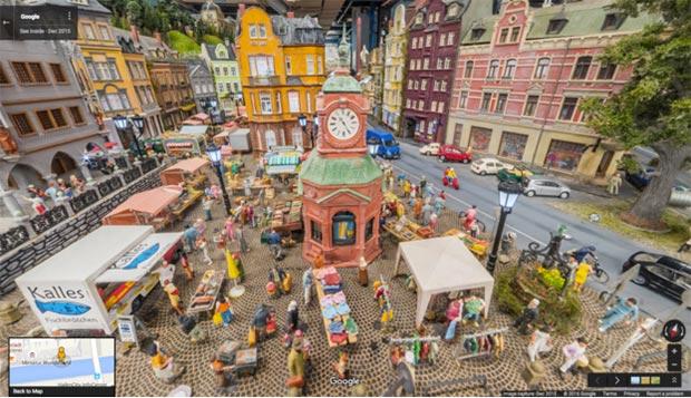 Una piazza della Miniatur Wunderland di Amburgo su Street View