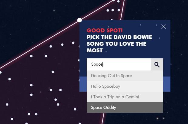 I fan del Duca Bianco possono interagire con il sito Stardust for Bowie, scegliendo un punto della costellazione e un suo brano musicale