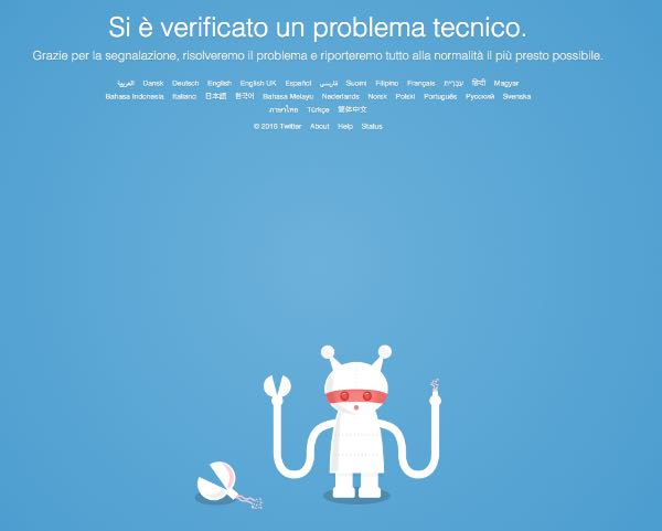 Twitter down in tutto il mondo