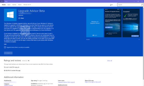 Windows 10 Mobile Upgrade Advisor