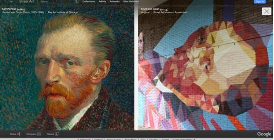 Autoritratto di Van Gogh (a sinistra) e rivisitazione di Uriginal (a destra)