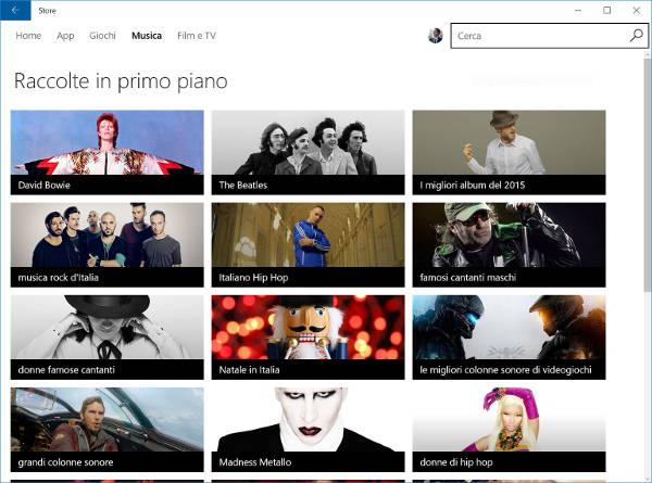 Windows 10, arrivano le collezioni musicali