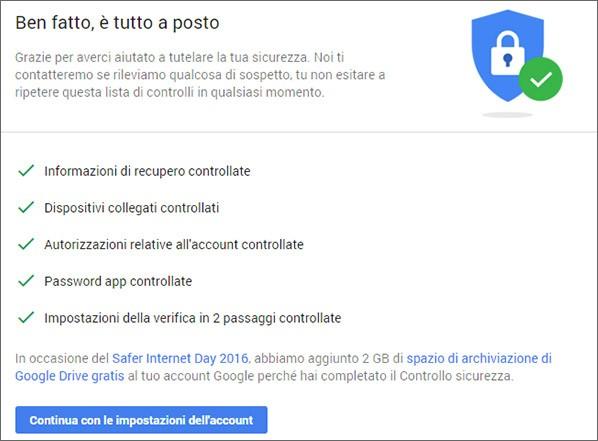 Completando il Controllo Sicurezza del proprio account Google si ottengono 2 GB di spazio gratis su Drive