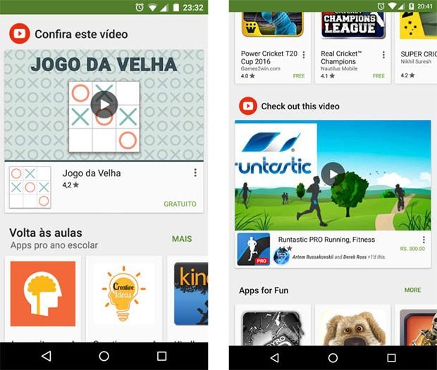 Le inserzioni video per la sponsorizzazione delle app mostrate nella schermata principale di Play Store su dispositivi Android