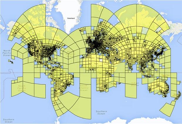 Le oltre 26.000 zone in cui è stato diviso il mondo dal team di PlaNet